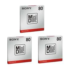 3 x Sony 80 Minute MD80 Blank Recordable Mini Discs - UK SUPPLIER - BRAND NEW