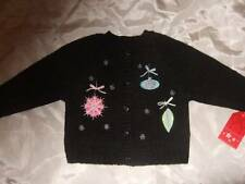 NWT HOLIDAY SWEATER black cardigan sweater w/ Christmas ornaments ~ girls 9 mos.