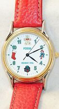 Fossil Rare Holiday Xmas 1996 Limited Edition Watch Red Leather Band LE-9485