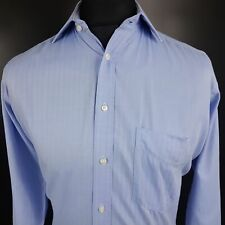 Abercrombie & Fitch Mens Formal Shirt 38 LARGE Long Sleeve Blue Regular Cotton