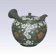 Tokoname Kyusu teapot - SHUNEN - White Plum - 260cc/ml - Pottery steel net