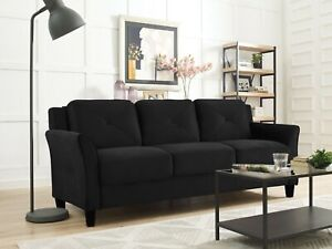 Lifestyle Solutions Taryn Curved Arm Premium Fabric Sofa Couch Furniture Black
