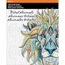 TRIBAL ANIMALS ADULT COLORING BOOK For Colored Pencils 24 Designs ARTZONE New