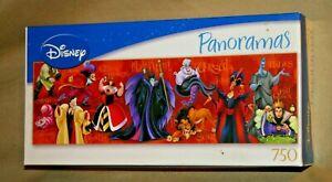 "Disney Panoramas Villains 750 piece Jigsaw Puzzle 11""x36"" New Factory Sealed"