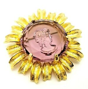Vintage Costume Jewellery Reverse Carved Amethyst Glass Cameo Brooch