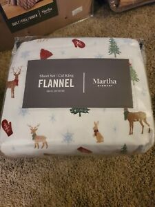 Martha Stewart Collection Winter Icons Flannel Sheet Set California King New