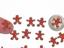 2pc Miniature Christmas Gingerbread man Cookie cutter bead floating charm 10mm