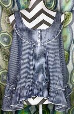 NWT Living Doll Women's Large Blue White Pinstriped Sleeveless Crop Top Cute