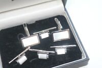 David Donahue  Sterling Silver White Mother of Pearl Cufflinks studs