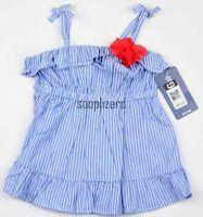 New OshKosh Girl Blue White Striped Top NWT Toddler Kids Size sz 18m 3T