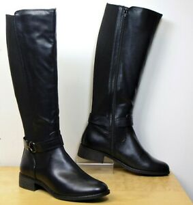 M&S Low Heel KNEE LENGTH Riding Style BOOTS ~ Size 5.5 ~ BLACK (rrp £49.50)