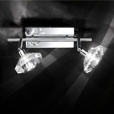 WOFI German Designer Megan 2 Lamp Chrome Flush Ceiling Wall Crystal Glass shades