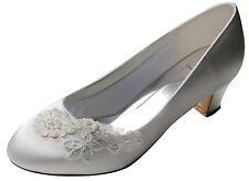 HBH Satin Brautschuhe,innen ausgepolstert ,mit Perlen u.Spitze,5cm Absatz, Ivory