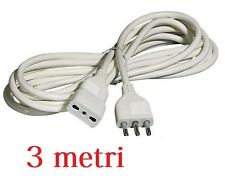 Prolunga Corrente Elettrica Cavo 3 Metri 220v Bipasso Spina Italiana Presa moc