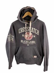 Crosshatch Men's Hooded Jumper Size M Grey Casual Fleece Pullover Front Pocket