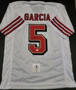 JEFF GARCIA Signed SF 49ERS white CUSTOM jersey SZ XL. BECKETT WITNESSED