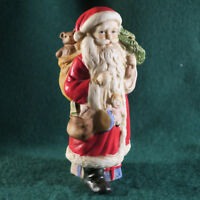"""Old Fashion Bisque Standing Santa w Tan Toy Sack and Christmas Tree 4.75"""" Tall"""