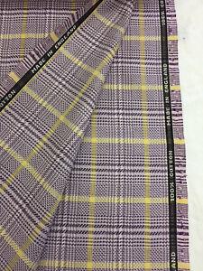 Lila Cuadros / a 100% Algodón de Lujo Suit Tela Hecho En Huddersfield Inglaterra