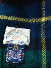 New listing Browns of Bermuda Vintage Wool Plaid Fringe Throw Lap Blanket Navy Red Yellow