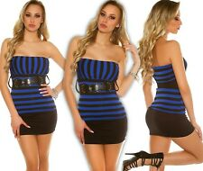 Sexy Bandeau Top Striped with Belt Push up Summer Top Blouse Shirt Longtop Bl