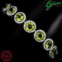 Unheated Round Green Peridot 7mm Natural Cz 925 Sterling Silver Bracelet 10 Inch