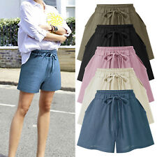Plus Size Women Wide Leg Loose Shorts Casual Plain Elastic Short Pants Hot Pants