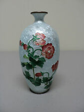 "ANTIQUE JAPANESE CLOISONNE GINBARI ENAMEL 5"" MINIATURE VASE, FOIL BACKGROUND"