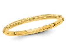 Señoras 2mm Apilable milgrain Anillo de bodas en oro 14K