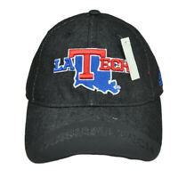 NCAA Louisiana Tech Bulldogs QA80Z Dark Denim Snapback Hat Curved Bill Adidas