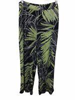 Susan Graver Women's Printed Liquid Knit Pull-On Pants Black/Green 1X Plus Size