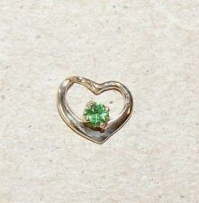 14K Gold Floating Heart with 3mm Tsavorite (8119)