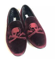 M30 Steve Madden Burgundy Velvet Cranium Skull Men's Slip on Shoes Size 11