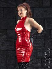 Lackkleid Kleid Rot Mini Ärmellos Vinyl Maßanfertigung