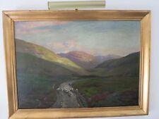 Antique Large Original Oil by George Melvin Rennie Glen Clunie Scotland Scene