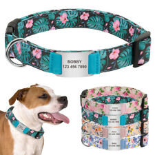 Adjustable Floral Personalized Dog Collar Custom Slide-on Pet ID Name Plate Tag