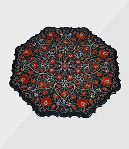 "24"" Marble Table Top Handmade Semi precious stones Work Home Decor"