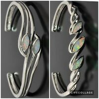 Stunning Opal Fire White Topaz Sterling Silver Gemstone Open Bangle  18cm
