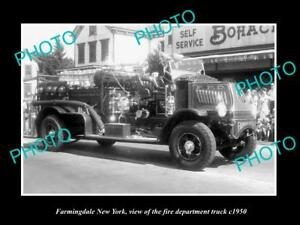 OLD LARGE HISTORIC PHOTO OF FARMINGDALE NEW YORK FIRE DEPARTMENT TRUCK c1950
