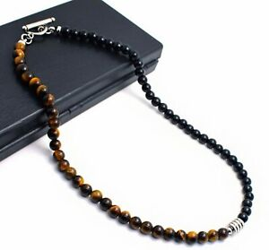 """Men/ Women 6mm Tiger Eye / Agate Stone Energy Bead Stainless Steel Necklace 18"""""""