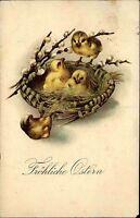 Frohe Ostern Fest 1929 Küken im Zweigen Nest Weidekätzchen Happy Easter Card