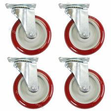 4 Pack 5 Inch Caster Wheels Swivel Plate Polyurethane Wheels Heavy Duty Wheels
