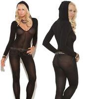 06157 Bodystocking Bodysuit Lingerie Sheer Babydoll Underwear Catsuit hooded new