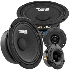 "2x DS18 PRO-GM6SE 6.5"" Sealed Back Midrange Speaker 2x PRO-TWX1BK Bullet Tweeter"