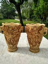 More details for pair of large vintage oriental resin vases with elephant handles