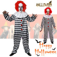 Scary Evil Clown Costume Halloween Fancy Dress Outfit Adult Mens with Red wig