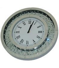 Round Circle Floating Crystal Jewel Gem Diamane Mirror Wall Hanging Modern Clock