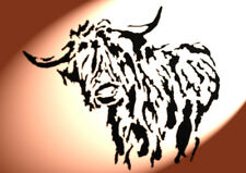 Shabby Chic Highland Cow cattle plastic Stencil A4 297x210mm Wall art design 3