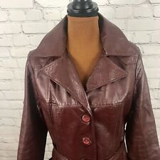 Vintage 80s Burgundy Full Length Leather Coat Belted Duster Trench Coat USA