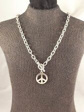 "16 ½"" Silver Tone Cable Chain Necklace with Peace Symbol Pendant & Front Toggle"
