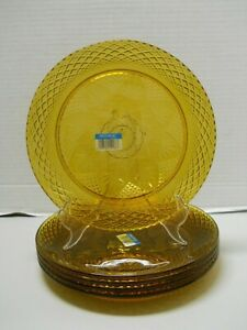 "Antique Amber Glass J.G Durand D'Arques 10"" Dinner Plates Set of 4 NOS"